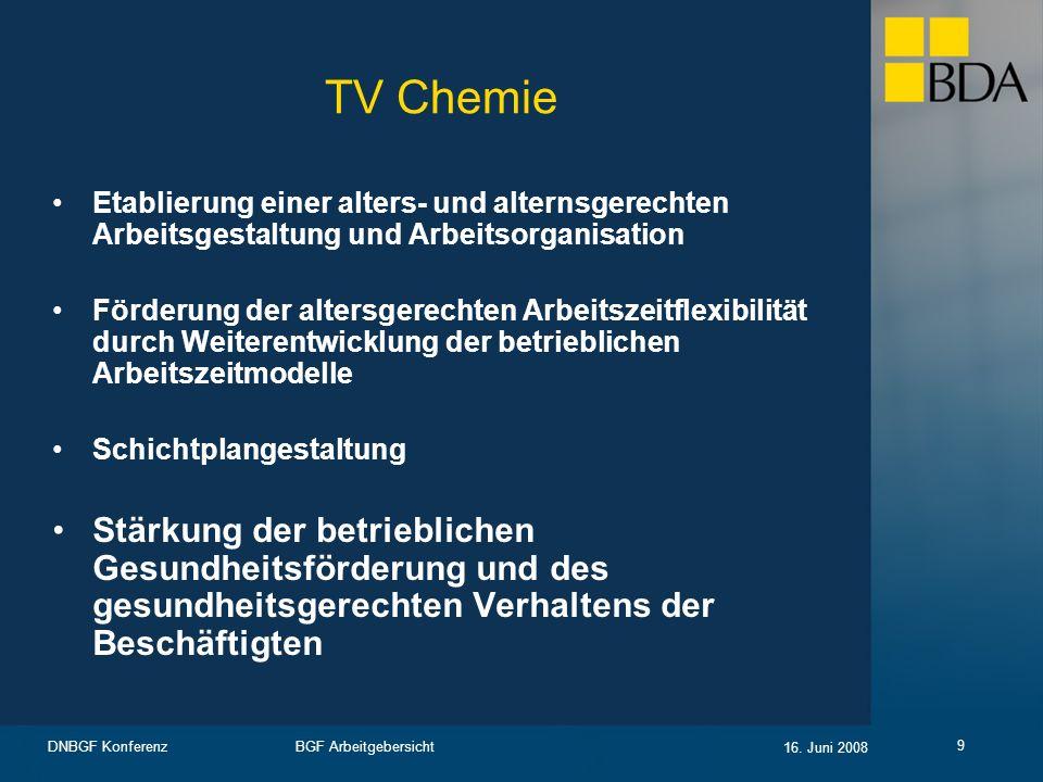 TV Chemie Etablierung einer alters- und alternsgerechten Arbeitsgestaltung und Arbeitsorganisation.