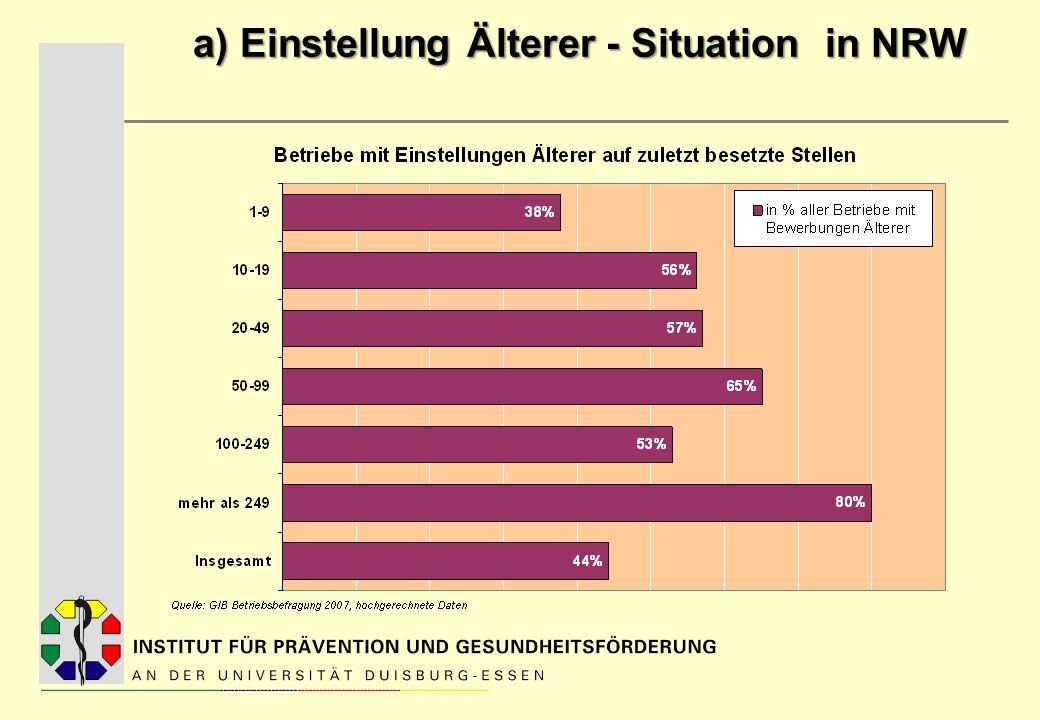 a) Einstellung Älterer - Situation in NRW