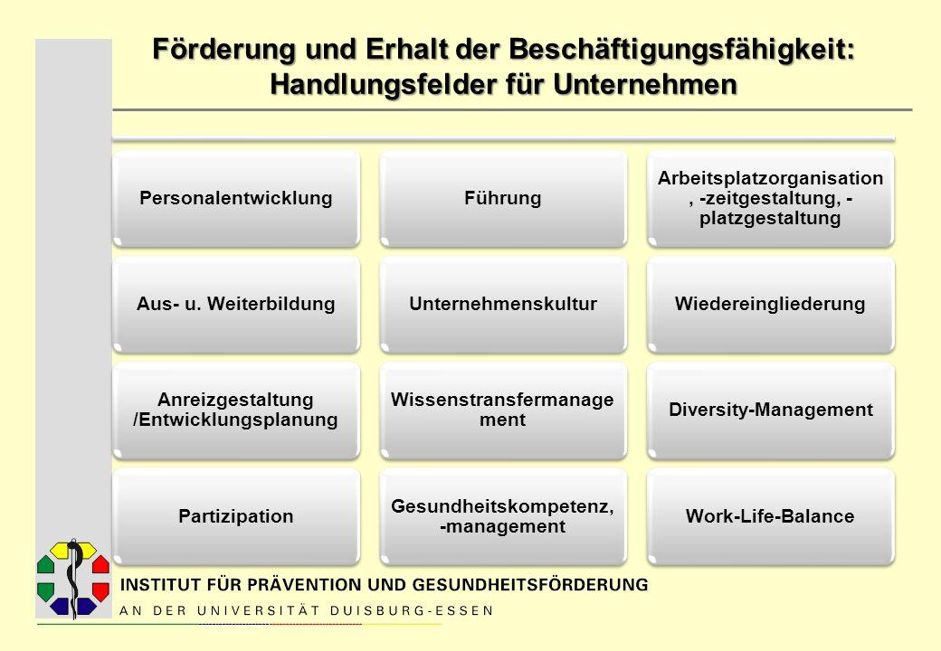 Förderung und Erhalt der Beschäftigungsfähigkeit: Handlungsfelder für Unternehmen