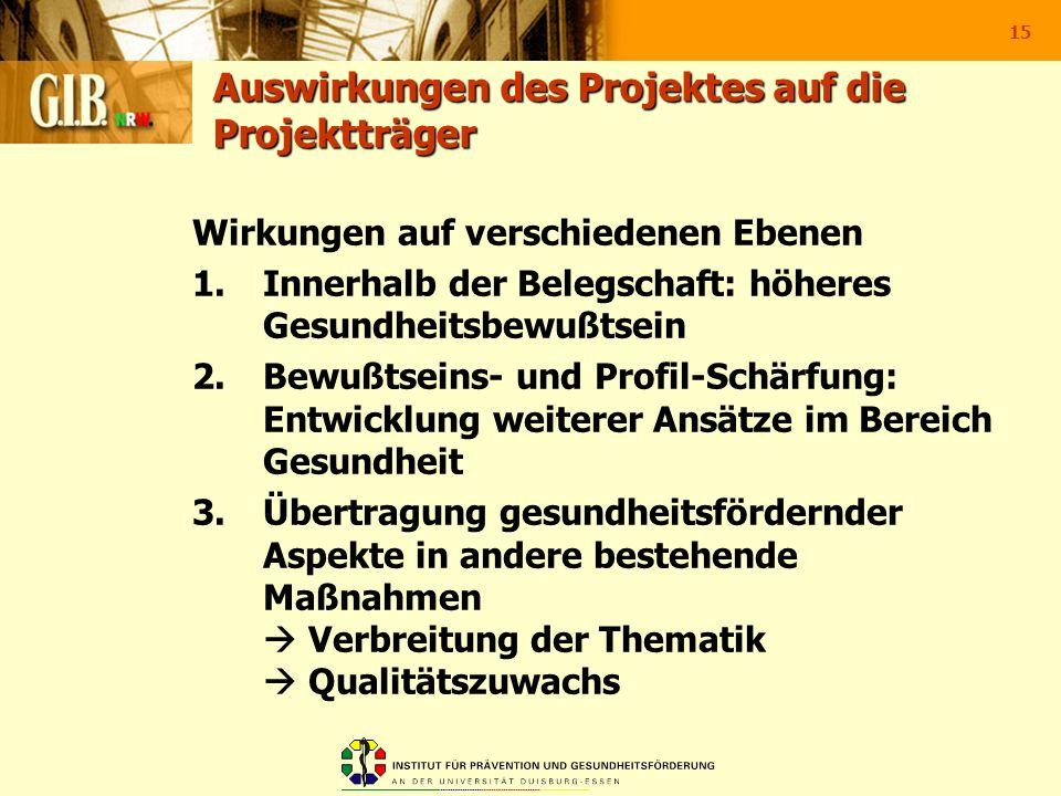 Auswirkungen des Projektes auf die Projektträger