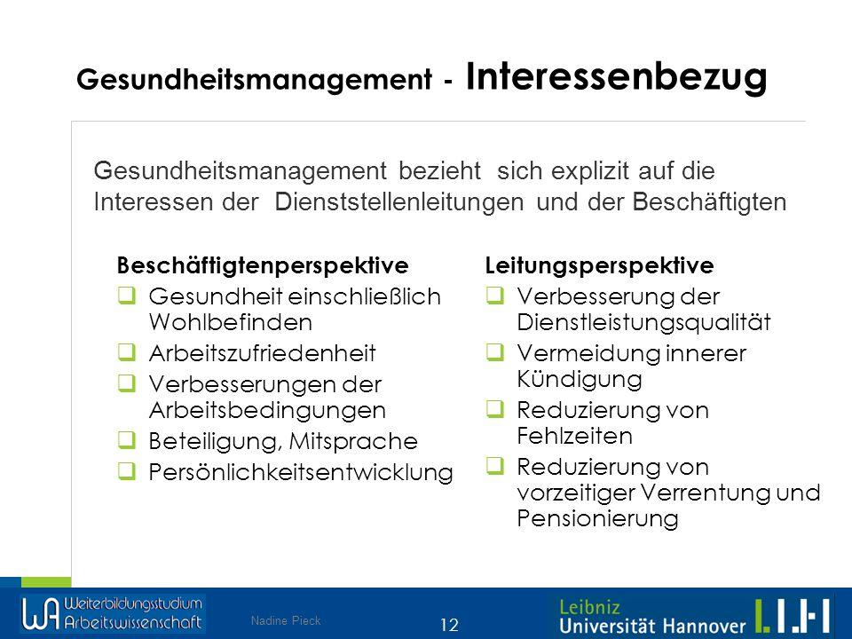 Gesundheitsmanagement - Interessenbezug