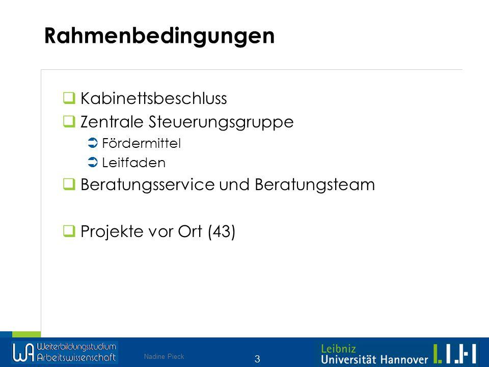 Rahmenbedingungen Kabinettsbeschluss Zentrale Steuerungsgruppe