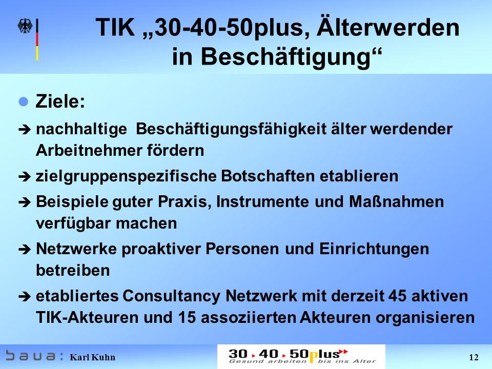 """TIK """"30-40-50plus, Älterwerden in Beschäftigung"""