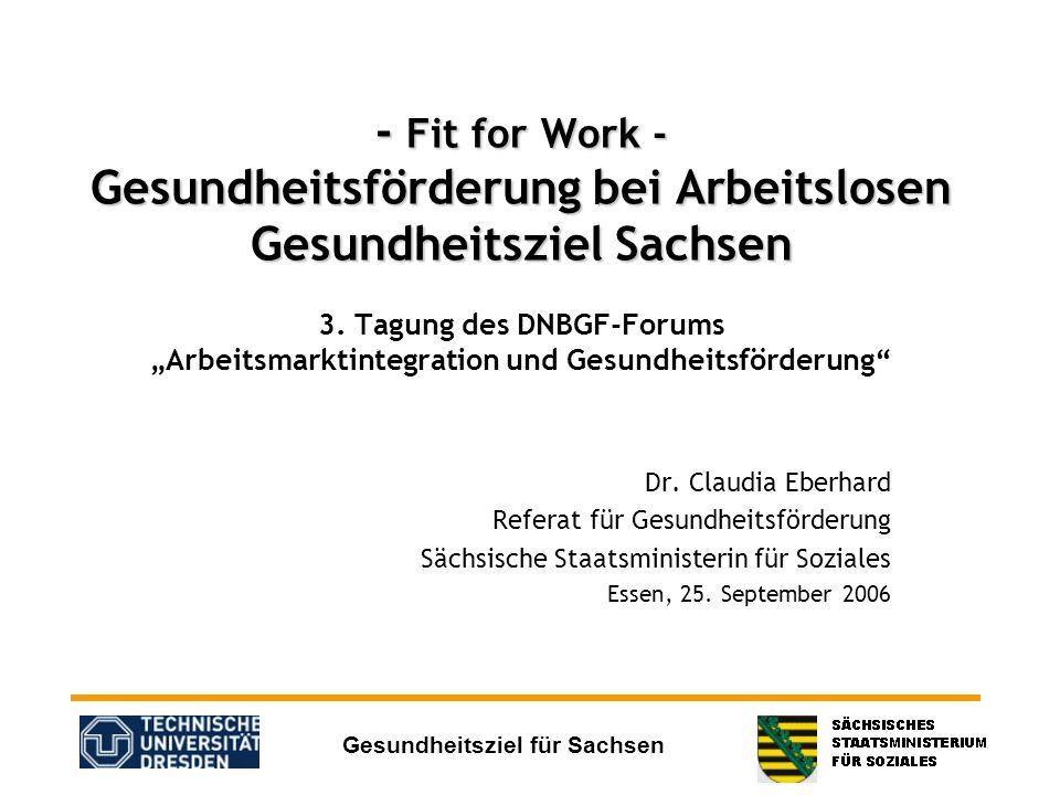 """- Fit for Work - Gesundheitsförderung bei Arbeitslosen Gesundheitsziel Sachsen 3. Tagung des DNBGF-Forums """"Arbeitsmarktintegration und Gesundheitsförderung"""