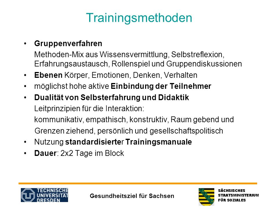 Trainingsmethoden Gruppenverfahren