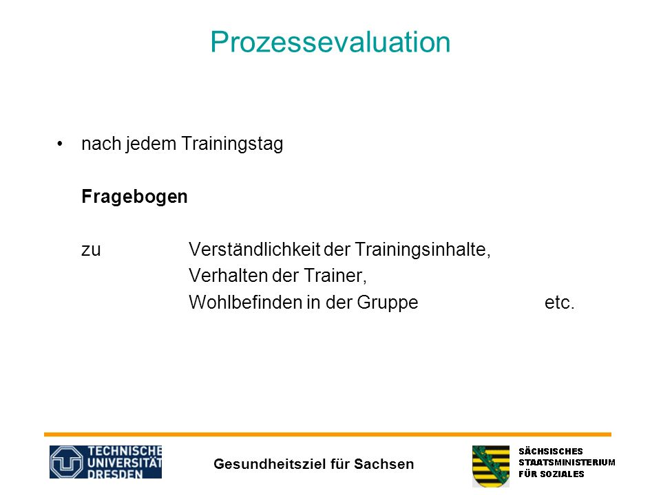 Prozessevaluation nach jedem Trainingstag Fragebogen