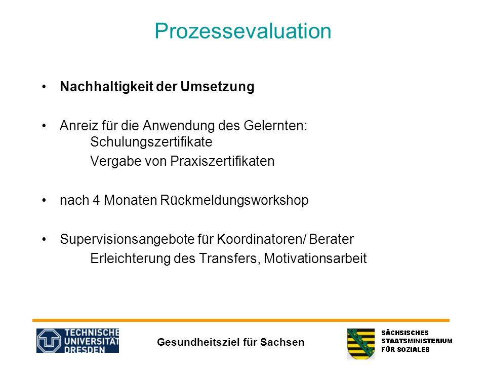 Prozessevaluation Nachhaltigkeit der Umsetzung