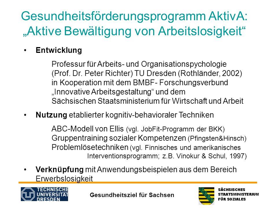 """Gesundheitsförderungsprogramm AktivA: """"Aktive Bewältigung von Arbeitslosigkeit"""