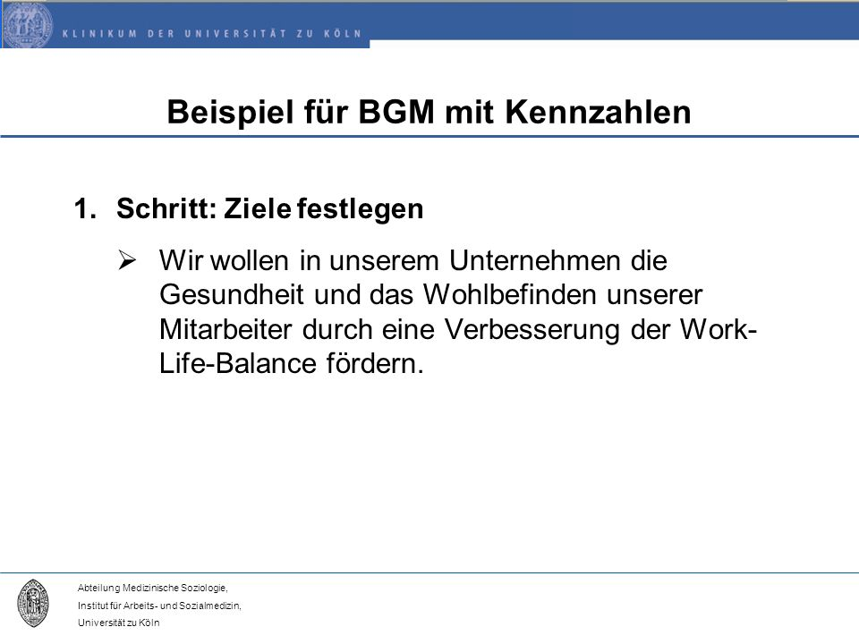 Beispiel für BGM mit Kennzahlen