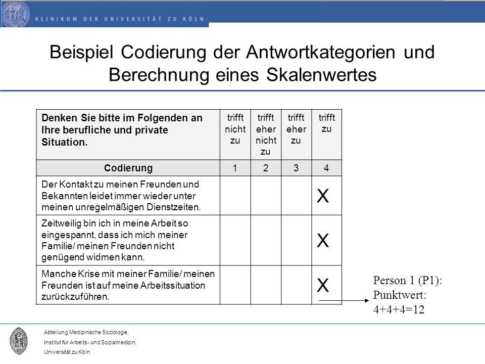 Beispiel Codierung der Antwortkategorien und Berechnung eines Skalenwertes