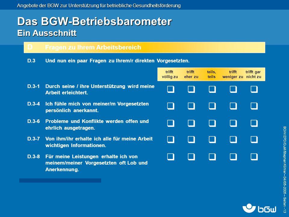 Das BGW-Betriebsbarometer Ein Ausschnitt