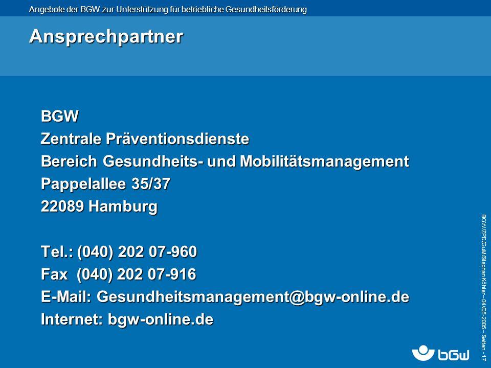 Ansprechpartner BGW Zentrale Präventionsdienste