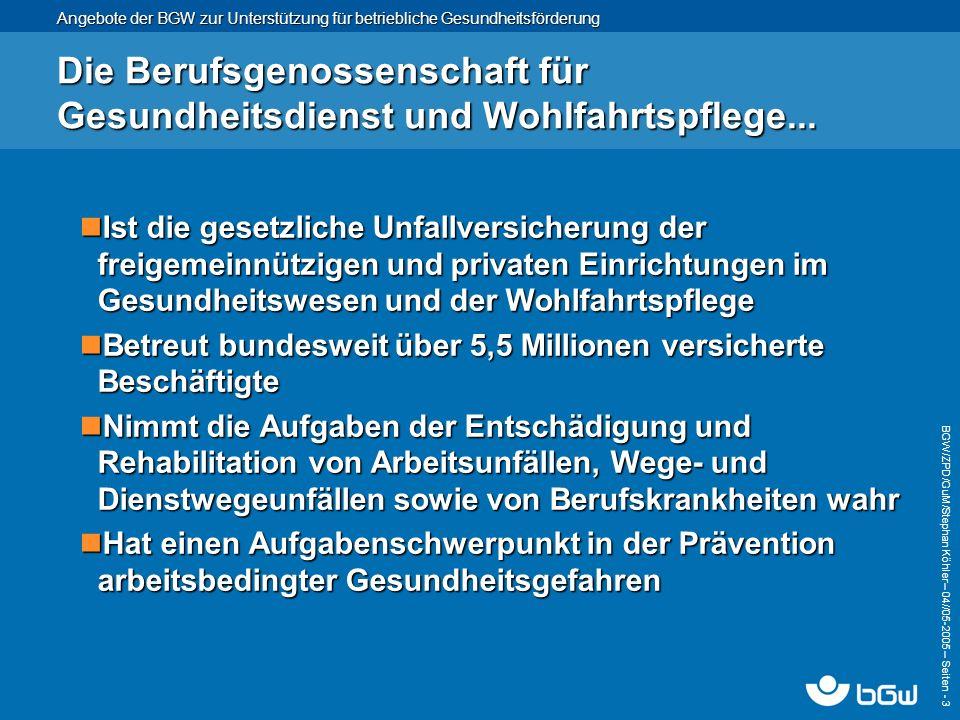 Die Berufsgenossenschaft für Gesundheitsdienst und Wohlfahrtspflege...