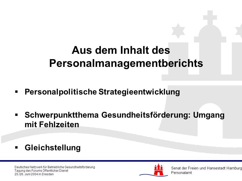 Aus dem Inhalt des Personalmanagementberichts