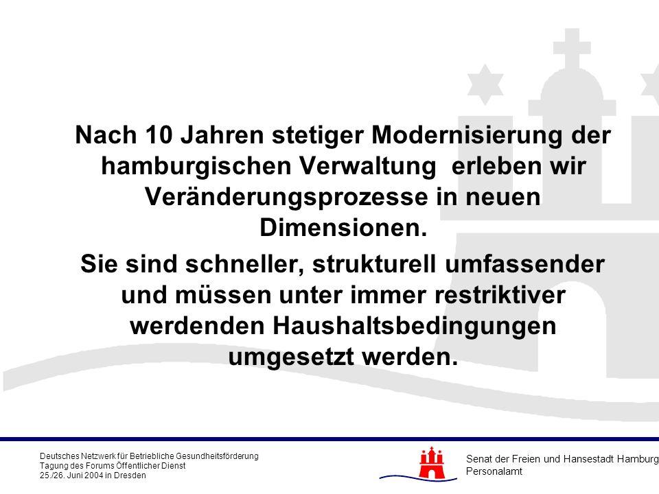 Nach 10 Jahren stetiger Modernisierung der hamburgischen Verwaltung erleben wir Veränderungsprozesse in neuen Dimensionen.