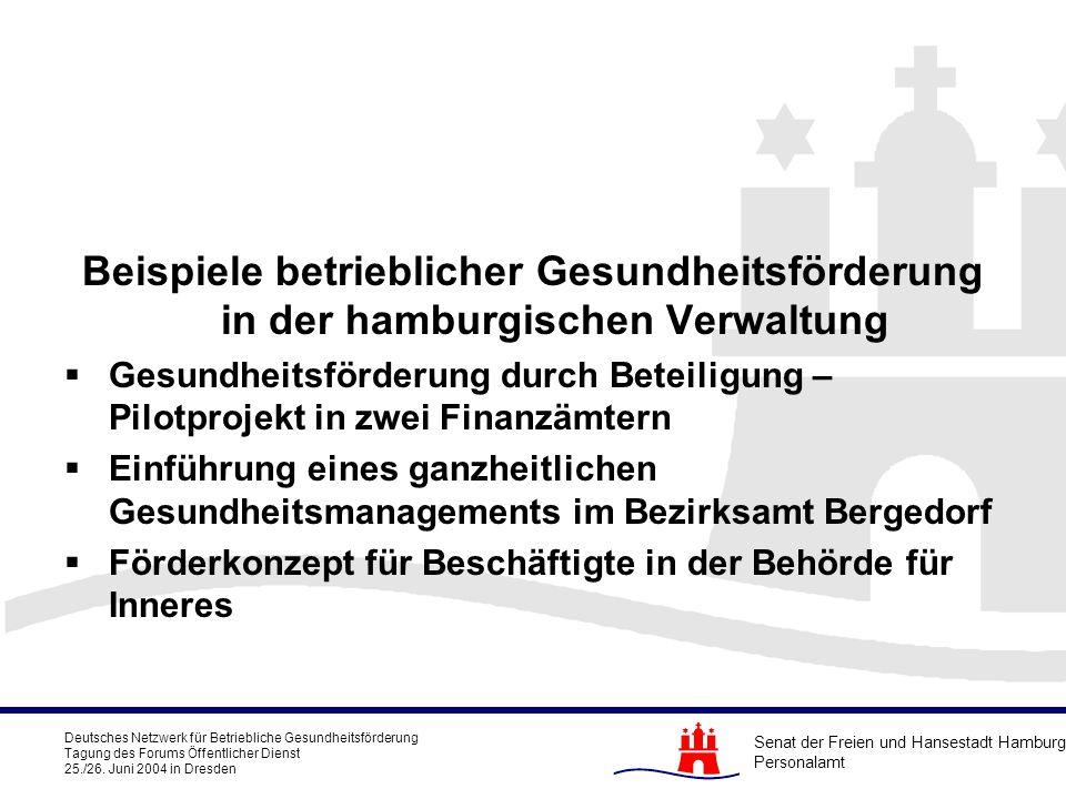 Beispiele betrieblicher Gesundheitsförderung in der hamburgischen Verwaltung