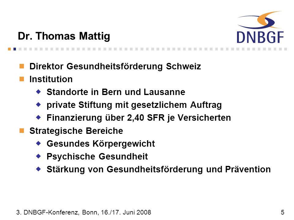 Dr. Thomas Mattig Direktor Gesundheitsförderung Schweiz Institution