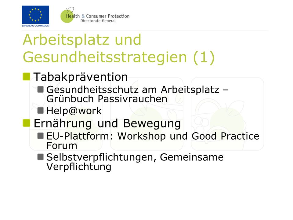 Arbeitsplatz und Gesundheitsstrategien (1)