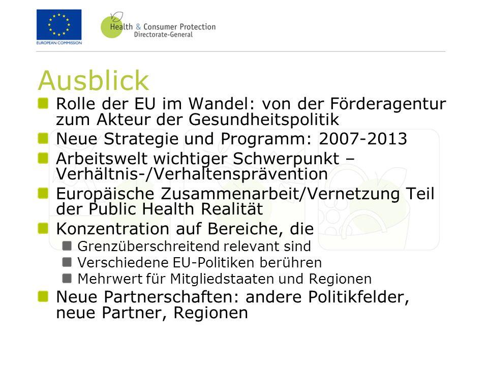 Ausblick Rolle der EU im Wandel: von der Förderagentur zum Akteur der Gesundheitspolitik. Neue Strategie und Programm: 2007-2013.