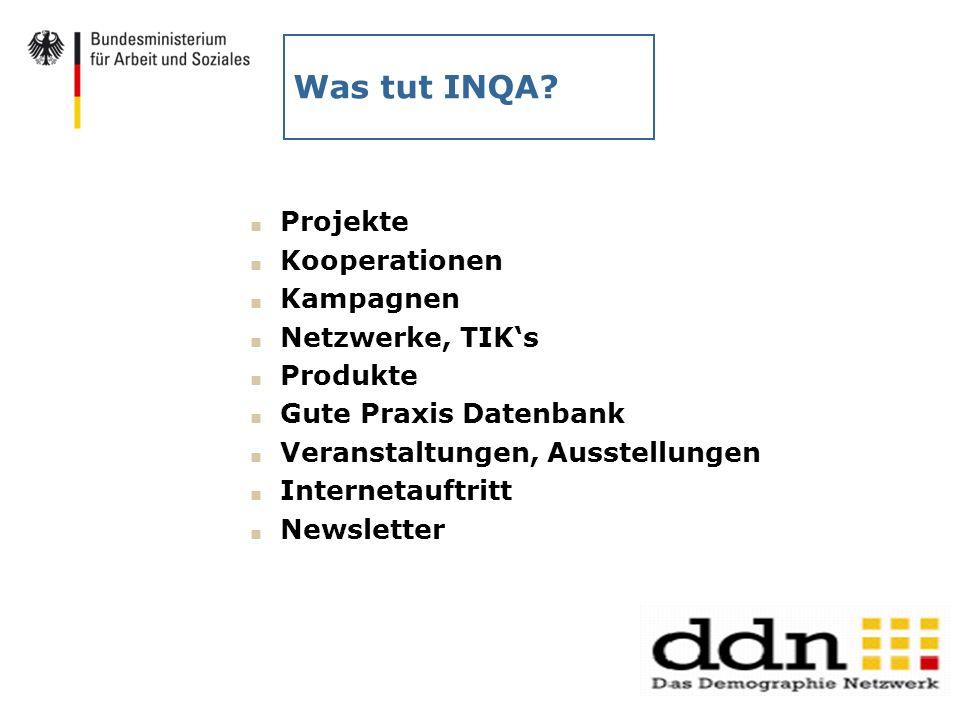 Was tut INQA Projekte Kooperationen Kampagnen Netzwerke, TIK's