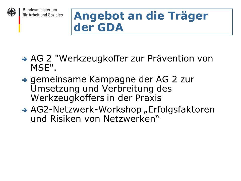 Angebot an die Träger der GDA