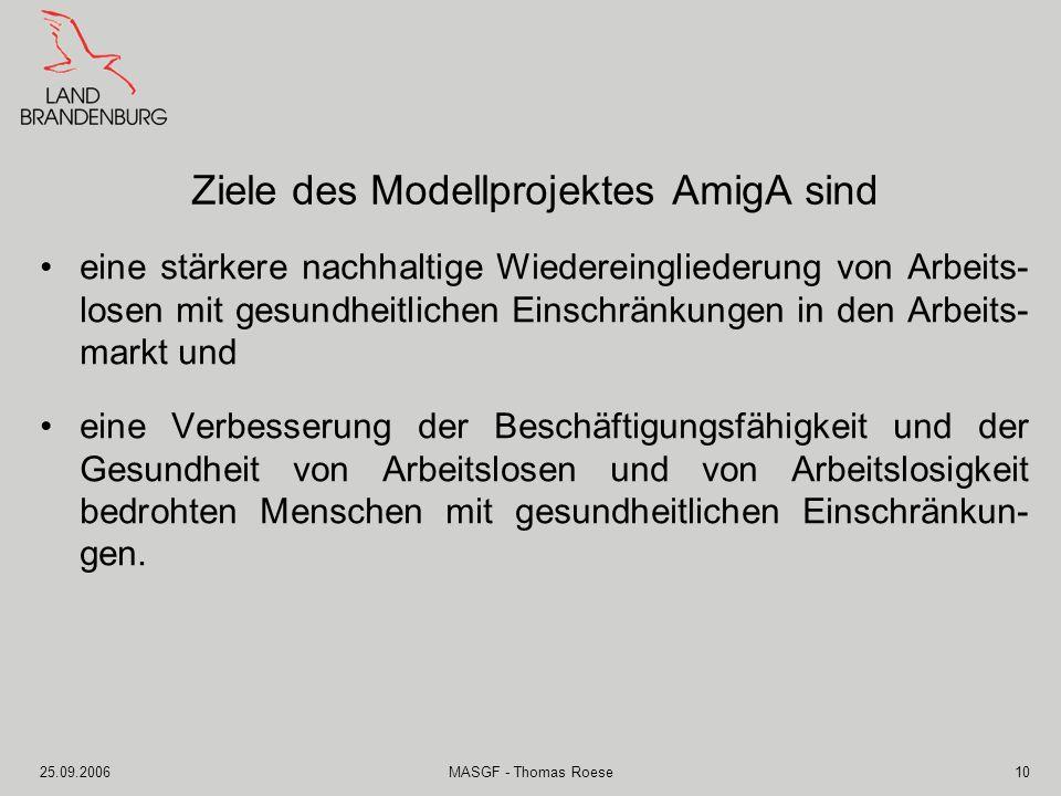 Ziele des Modellprojektes AmigA sind