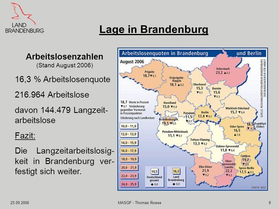 Lage in Brandenburg Arbeitslosenzahlen 16,3 % Arbeitslosenquote