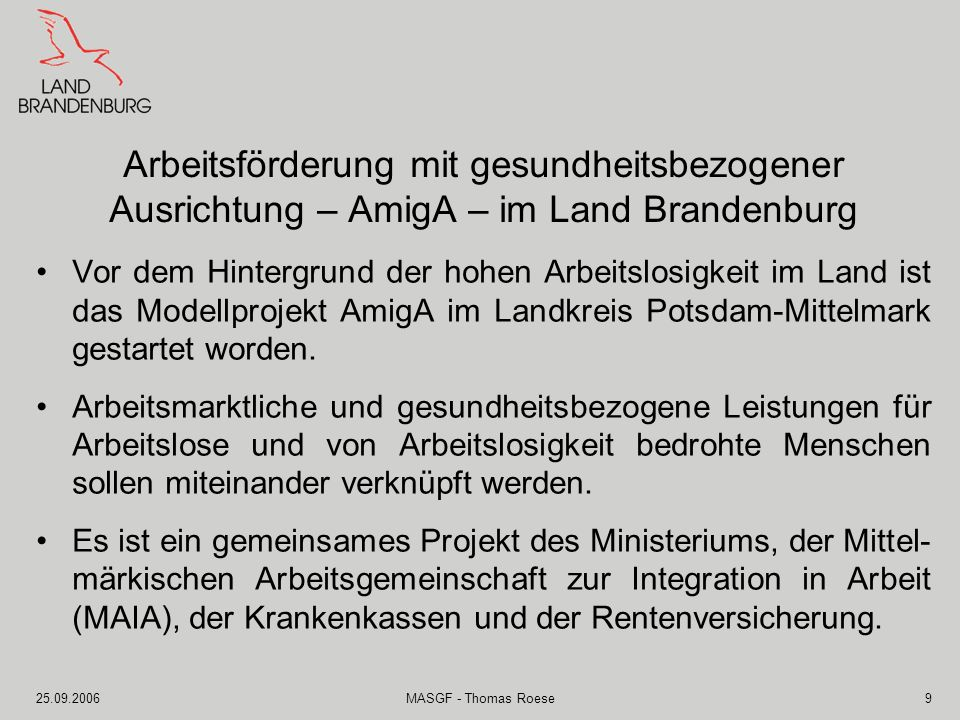 Arbeitsförderung mit gesundheitsbezogener Ausrichtung – AmigA – im Land Brandenburg
