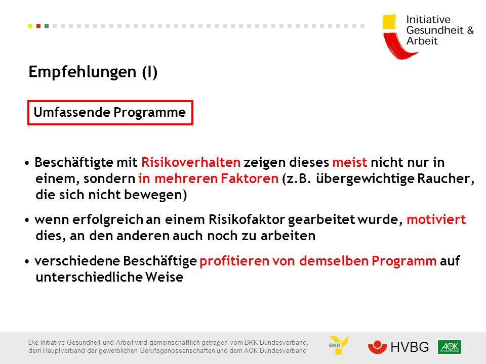 Empfehlungen (I) Umfassende Programme