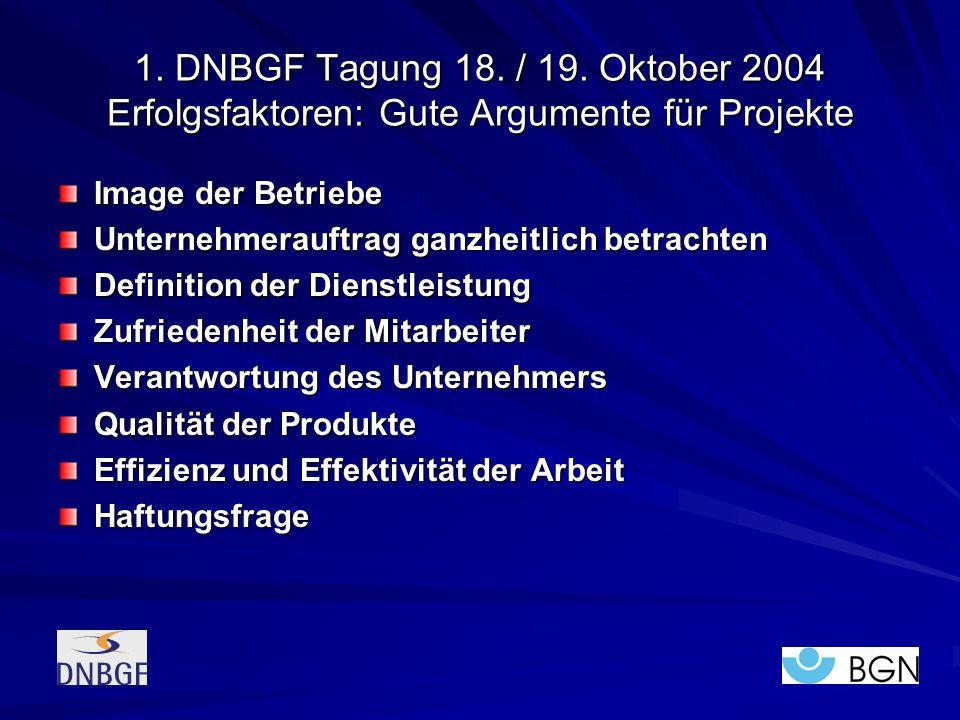 1. DNBGF Tagung 18. / 19. Oktober 2004 Erfolgsfaktoren: Gute Argumente für Projekte