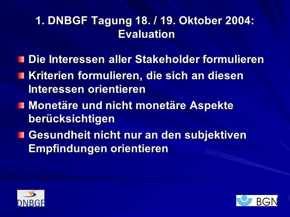 1. DNBGF Tagung 18. / 19. Oktober 2004: Evaluation