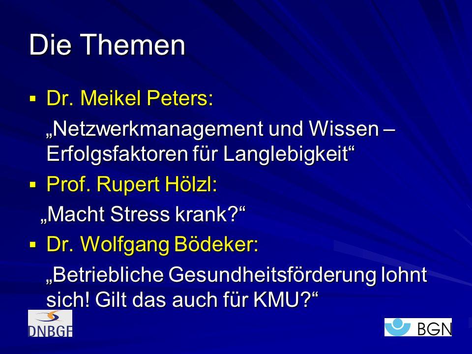 Die Themen Dr. Meikel Peters: