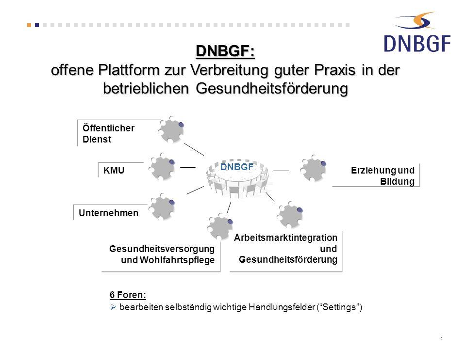 DNBGF: offene Plattform zur Verbreitung guter Praxis in der betrieblichen Gesundheitsförderung. Unternehmen.