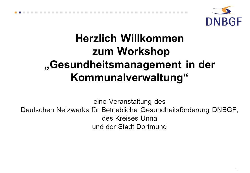 """Herzlich Willkommen zum Workshop """"Gesundheitsmanagement in der Kommunalverwaltung eine Veranstaltung des Deutschen Netzwerks für Betriebliche Gesundheitsförderung DNBGF, des Kreises Unna und der Stadt Dortmund"""