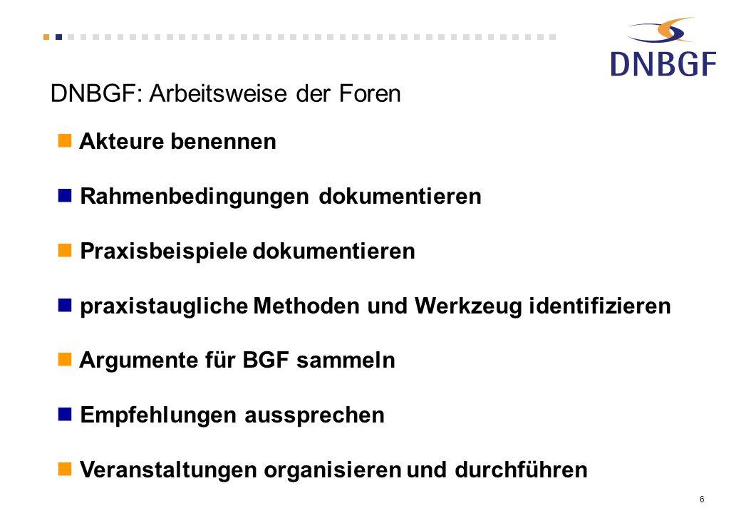 DNBGF: Arbeitsweise der Foren