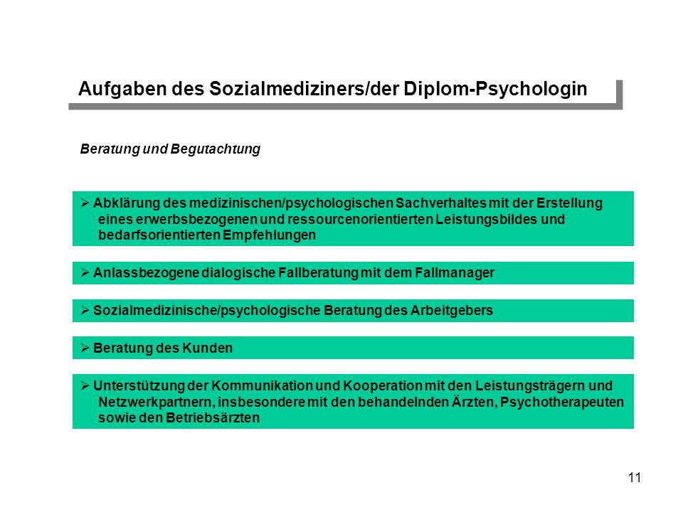 Aufgaben des Sozialmediziners/der Diplom-Psychologin