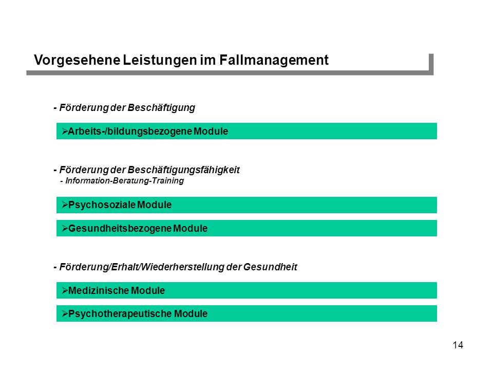 Vorgesehene Leistungen im Fallmanagement