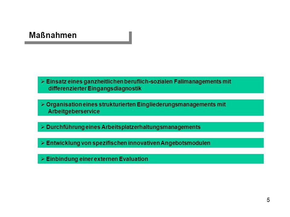 Maßnahmen Einsatz eines ganzheitlichen beruflich-sozialen Fallmanagements mit. differenzierter Eingangsdiagnostik.