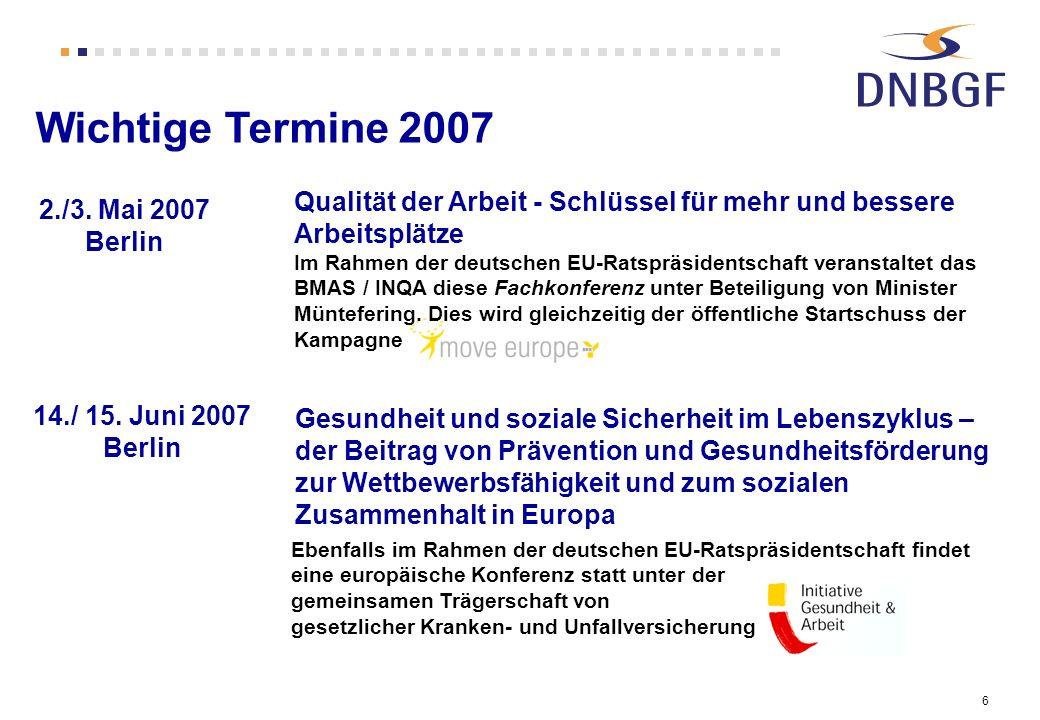Wichtige Termine 2007 Qualität der Arbeit - Schlüssel für mehr und bessere Arbeitsplätze.