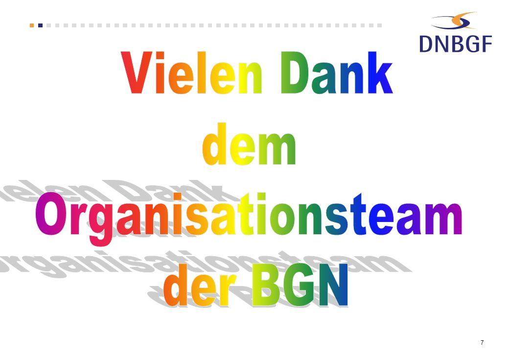 Vielen Dank dem Organisationsteam der BGN