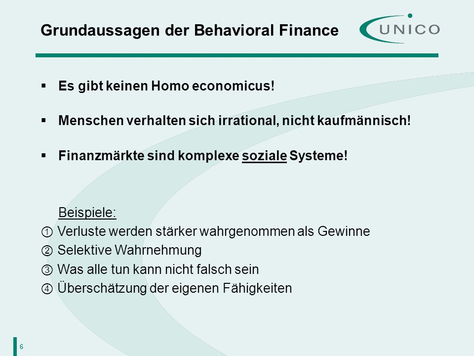 Grundaussagen der Behavioral Finance