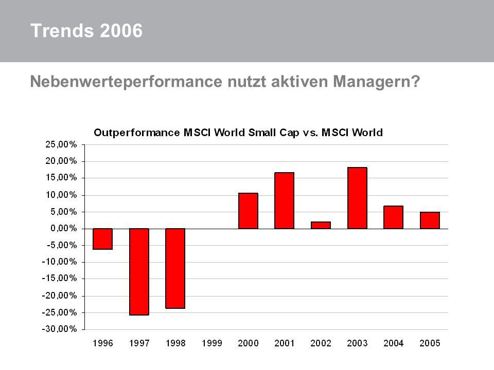 Trends 2006 Nebenwerteperformance nutzt aktiven Managern