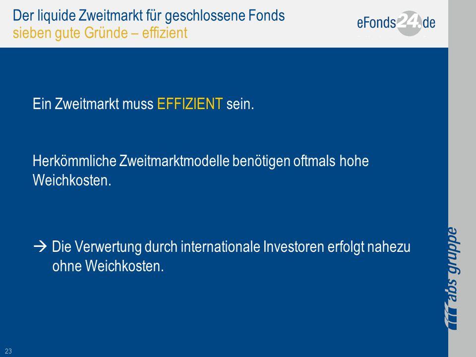 Der liquide Zweitmarkt für geschlossene Fonds sieben gute Gründe – effizient