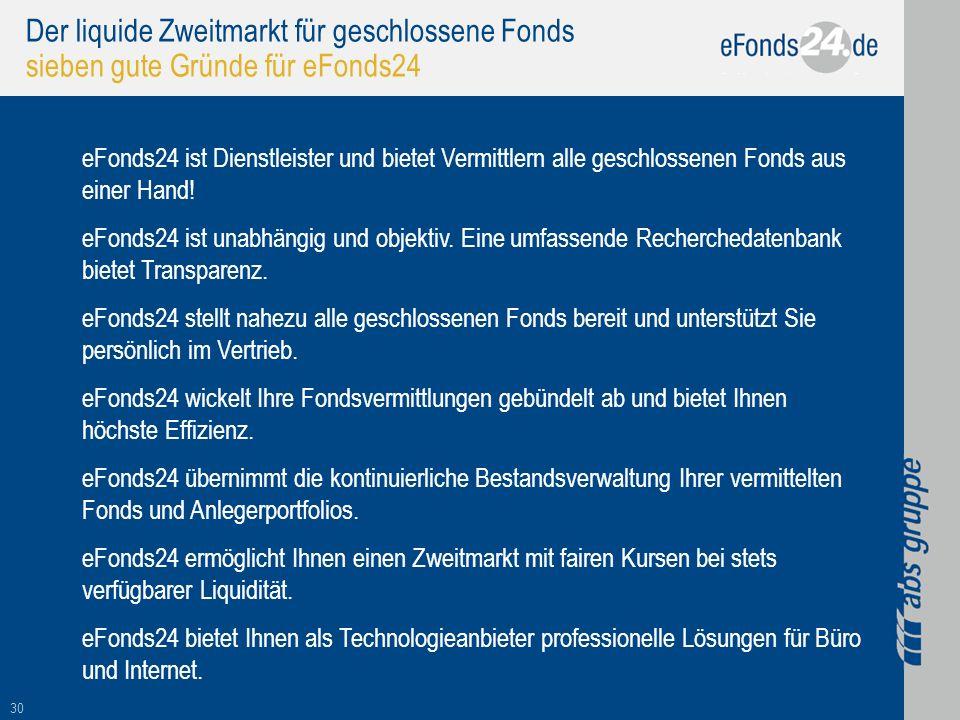 Der liquide Zweitmarkt für geschlossene Fonds sieben gute Gründe für eFonds24