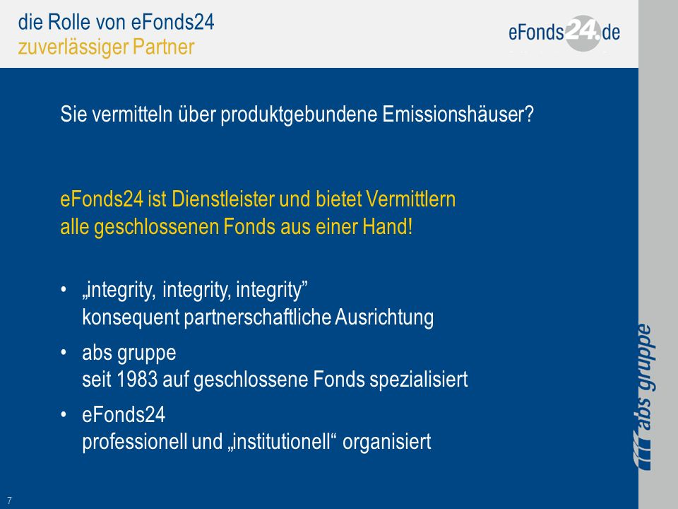 die Rolle von eFonds24 zuverlässiger Partner