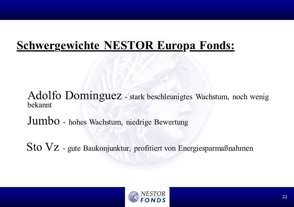 Schwergewichte NESTOR Europa Fonds: