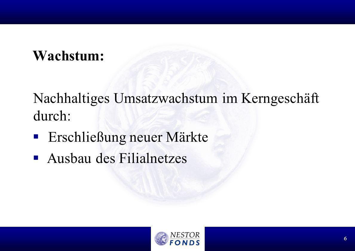 Wachstum: Nachhaltiges Umsatzwachstum im Kerngeschäft durch: Erschließung neuer Märkte.