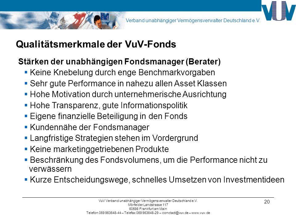 Qualitätsmerkmale der VuV-Fonds