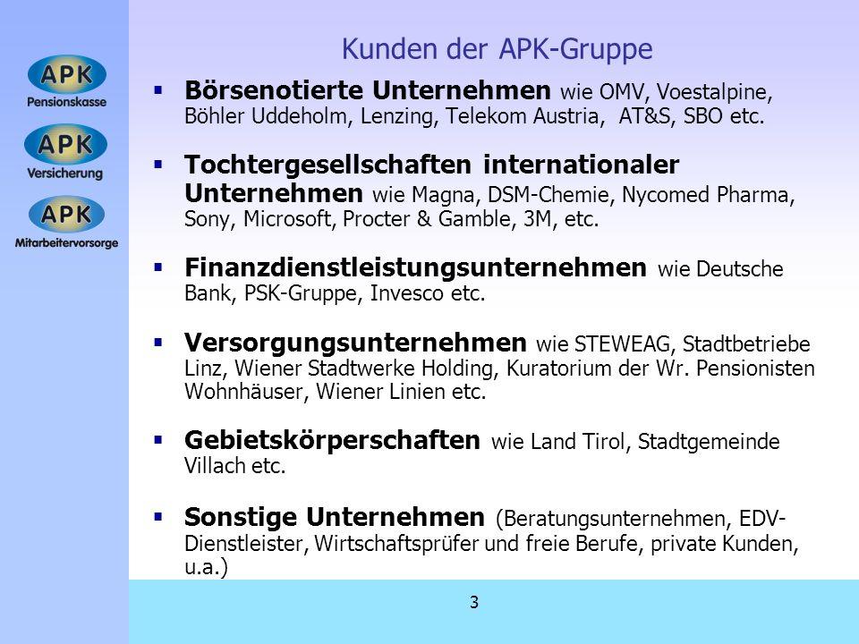Kunden der APK-Gruppe Börsenotierte Unternehmen wie OMV, Voestalpine, Böhler Uddeholm, Lenzing, Telekom Austria, AT&S, SBO etc.