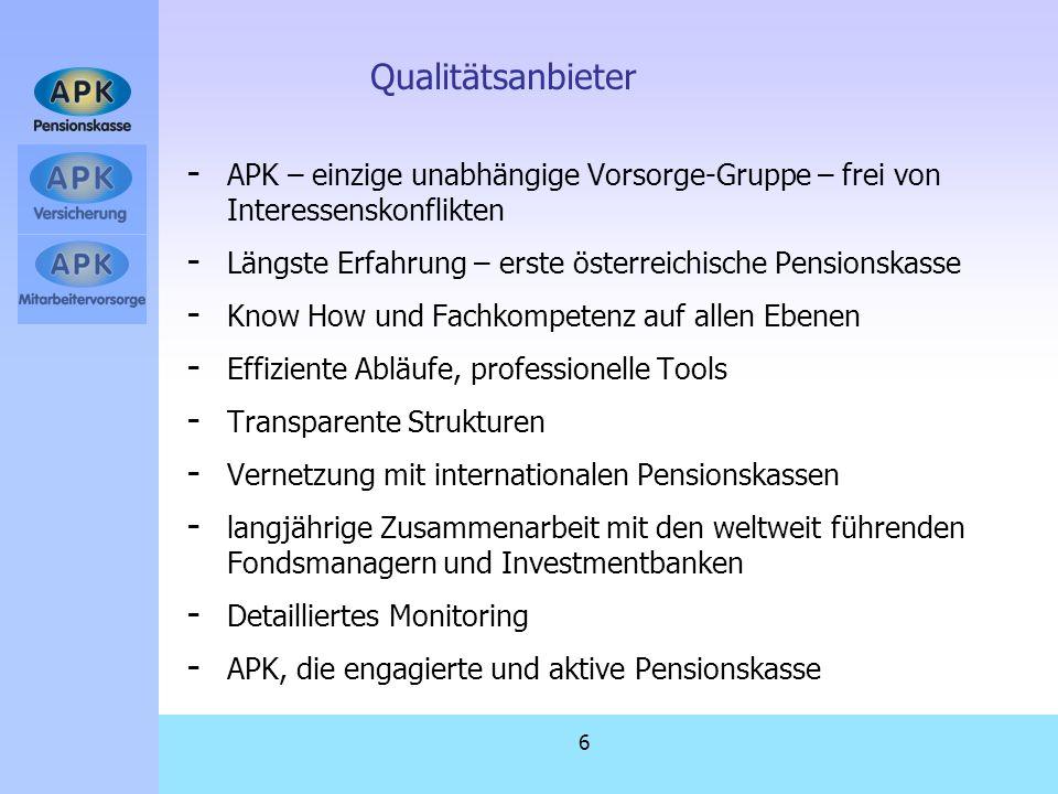 Qualitätsanbieter APK – einzige unabhängige Vorsorge-Gruppe – frei von Interessenskonflikten.